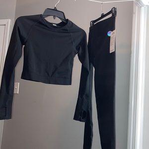 PINK leggings & matching croptop seamless